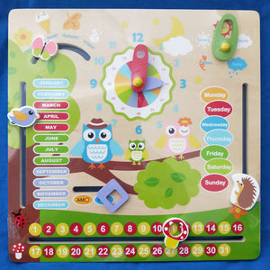Wooden Owl themed Calendar - seasons, weather, time, days, months