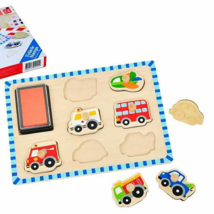 Wooden Puzzle and Stamp Vehicles