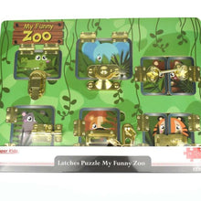 Open the different latches to reveal wooden zoo animal puzzle pieces