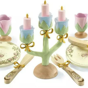 Wooden rose princess tea dinner set - Djeco