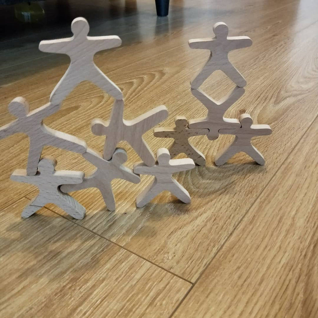 Wooden Balance people Acrobats - set of 10