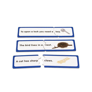Finish the sentence learning card puzzle