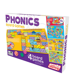 Set of 4 Phonics board games  Make new words by changing letters. Topics include: Beginning Sounds, Middle Sounds, Digraph Middle Sounds and Final Sounds.