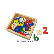 Wooden magnetic numbers and math symbols
