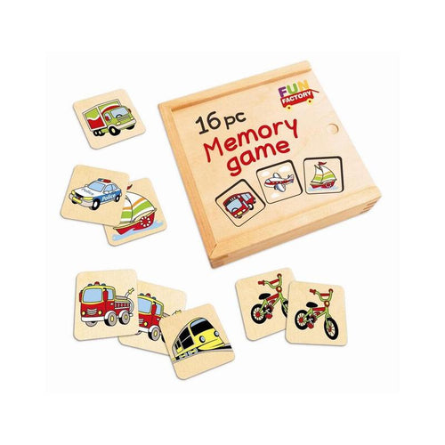 Wooden memory matching game - transport themed
