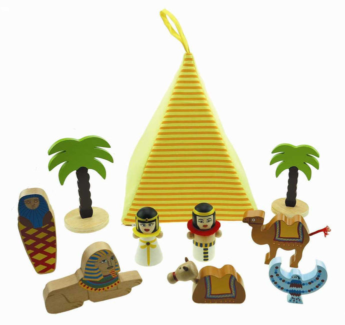 Egyptian Play set Wooden figures and felt pyramid opens to store the figures