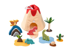 Portable fabric and wooden Dinosaur playset
