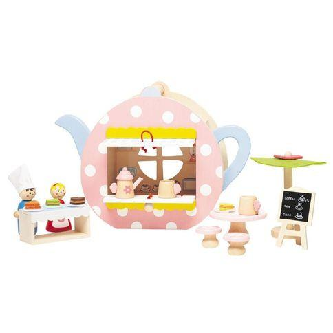 Wooden tea pot opens to a cafe play set