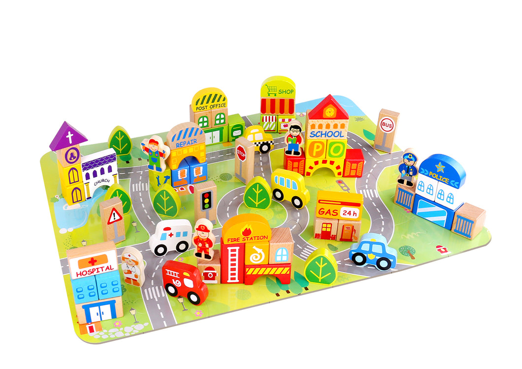 Wooden City learning blocks 100pcs play mat, town buildings and vehicle blocks