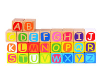 Alphabet blocks and puzzle play mat