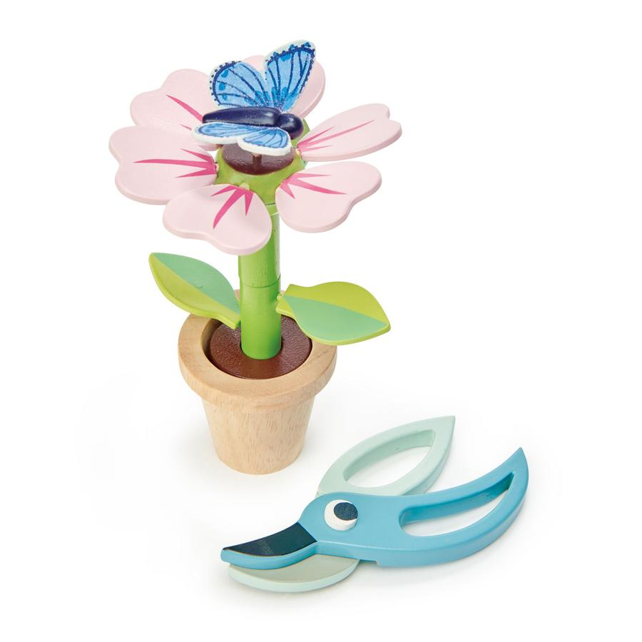 Wooden flower building toy