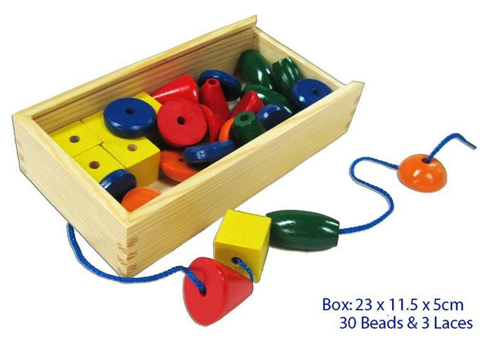 Wooden lacing beads, shapes and colours