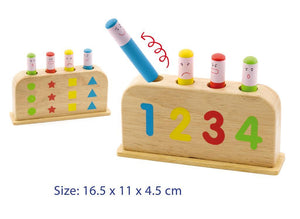 Learn colours, numbers,  shapes and emotions with this cute pop up wooden toy.