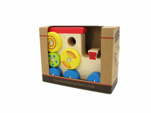 Pull-a-long spinning pattern train toddler