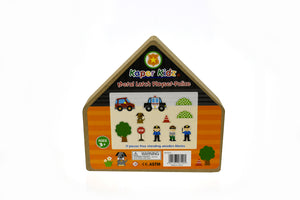 Wooden latch play set - Police toy