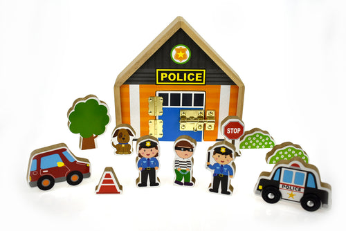 Wooden latch play set - Police