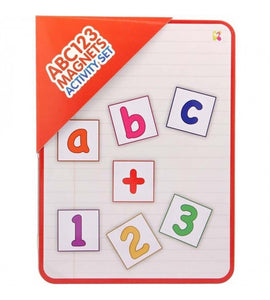 Magnetic tin with letters and numbers learning toy