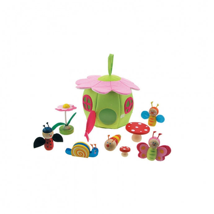 Wooden Spring time play set - Insects, Butterfly, Caterpillar, Snail, flower, fabric house