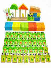 Wooden domino learning set 100pcs