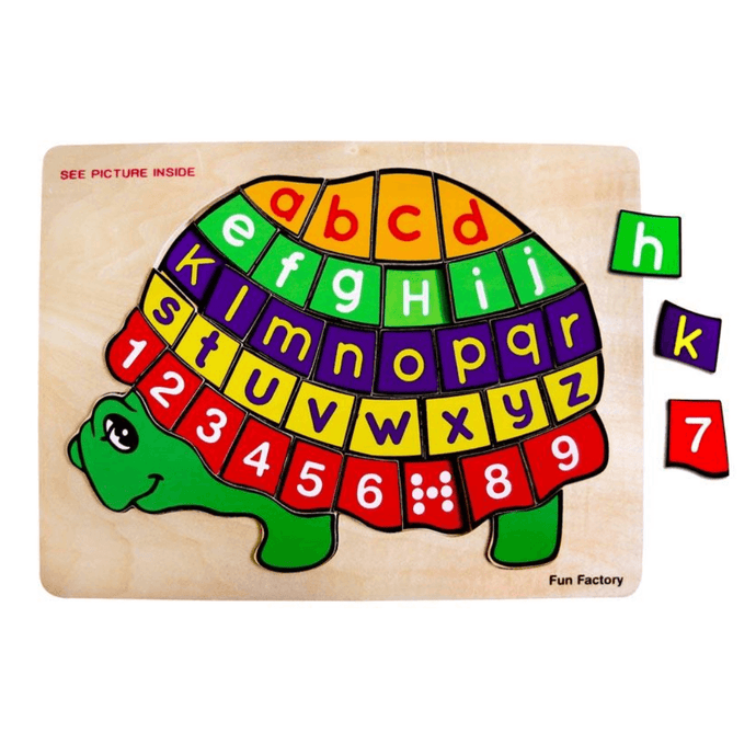 Wooden turtle puzzle upper and lower case letters numbers and counting