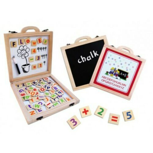 Wooden Magnetic Activity Case - letters, and numbers