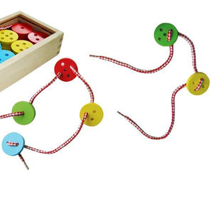 Coloured wooden button threading lacing toy