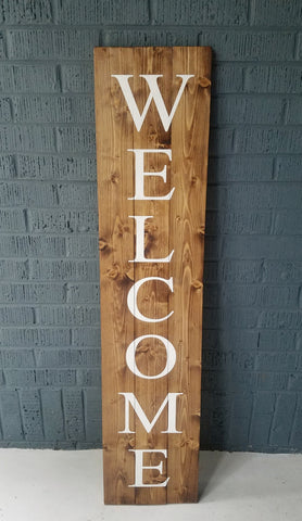 4' Wood Plank Welcome Sign