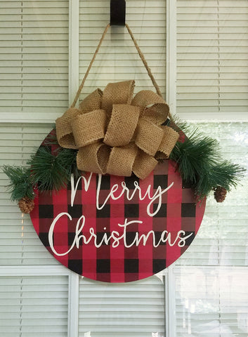 Buffalo Check Merry Christmas Door Sign!