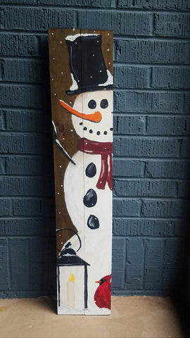 3ft Hand Painted Snowman Porch Sign