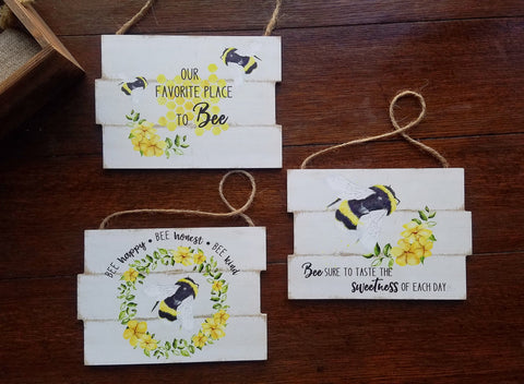 'Bee' Happy! Set of 3 Small Wood Signs