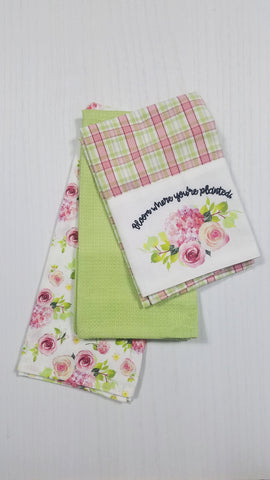 Bloom Where You're Planted Tea Towels, Set of 3