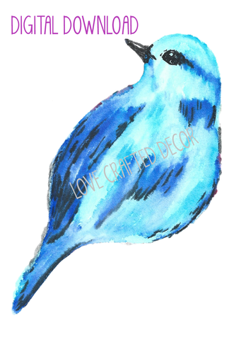 Blue Bird WITHOUT Flowers Digital Download | PNG File