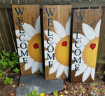 Welcome Flower Sign with Ladybug