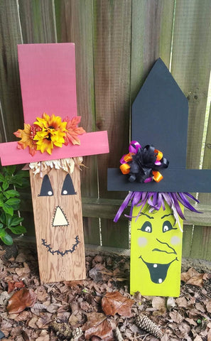 Handpainted Wooden Scarecrow or Witch!
