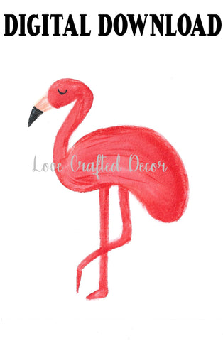Hand Drawn Watercolor Flamingo | Instant Download