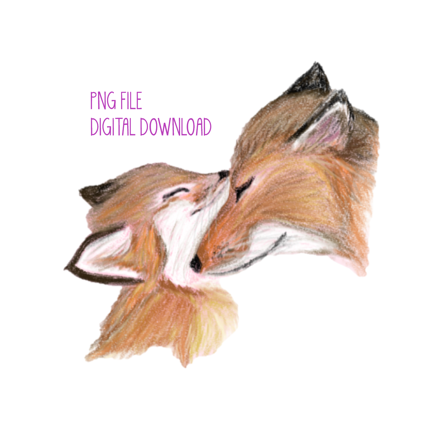 Hand Drawn Fox & Baby | Instant Download