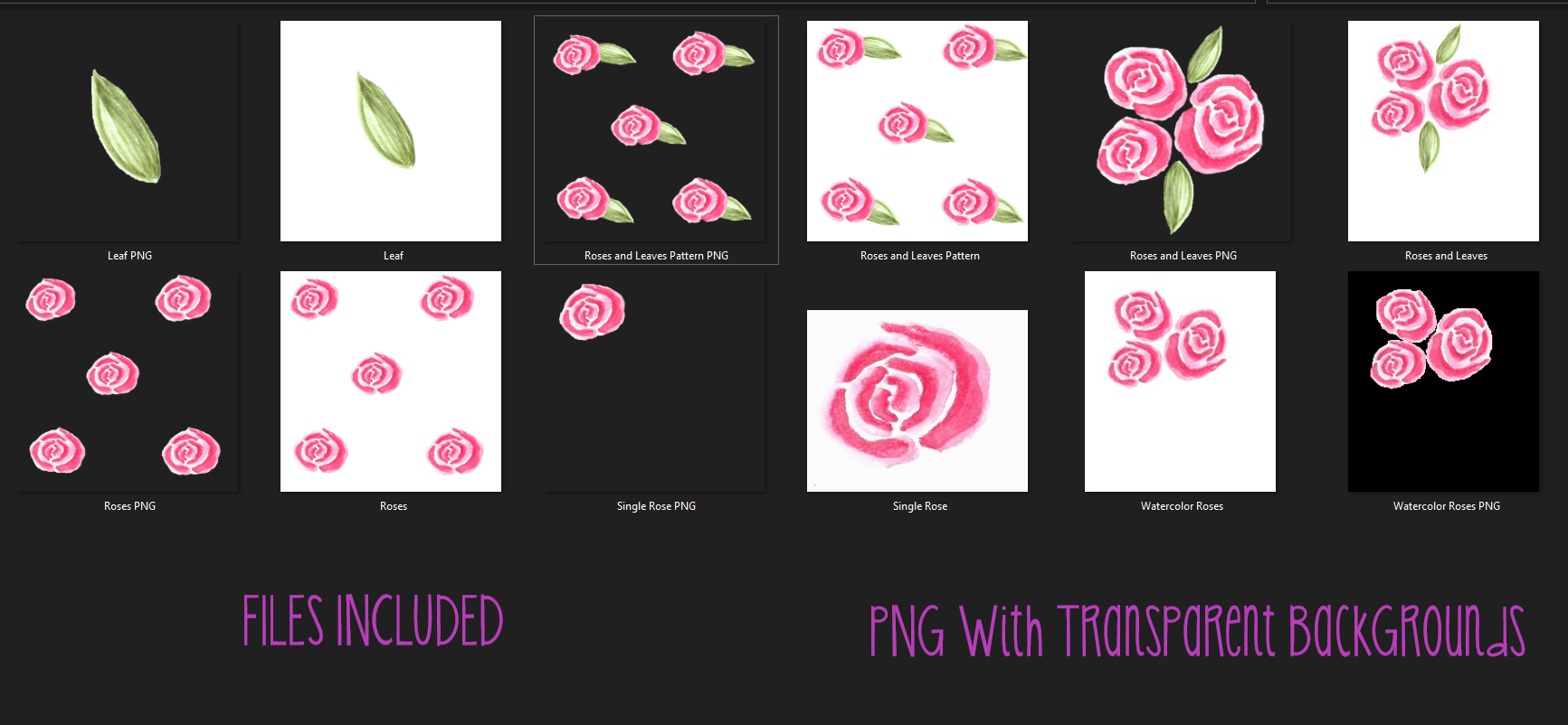 Watercolor Rose Collection | Digital Download | PNG Files