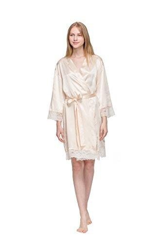 [Rosemaid] Women's Lace Satin Short Kimono Robe with V-Neck