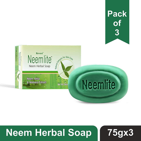 Revera Neemlite Neem Herbal Soap 75gm With Neem, Amla & Aloevera Extracts (Pack of 3) - Beespot.in