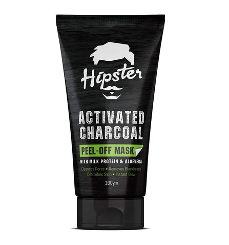 Hipster Activated Charcoal Peel Off Mask 100gm | With Milk Protein, Calendula, Vitamin B3, Vitamin E, Aloevera And Sugarcane Extracts | For Blackhead Removal And Deep Pore Cleansing - Beespot.in