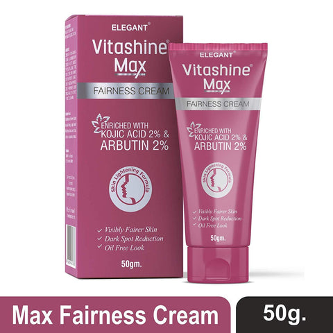 Vitashine Max Fairness Cream 50gm with Kojic Acid & Arbutin for Skin Lightening - Beespot.in