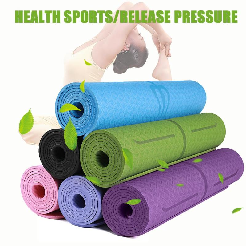 Non-slip TPE Yoga Mats with Position Line