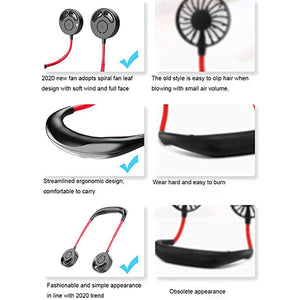 Adjustable & Portable Neckband Bladeless Mini Fan -3 Speed USB Rechargeable Quiet