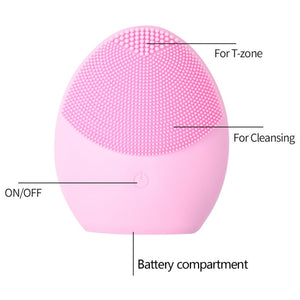 Facial Cleansing Brush Sonic Vibration Face Cleaner Silicone Deep Pore Cleaning Waterproof Electric Face Cleanser