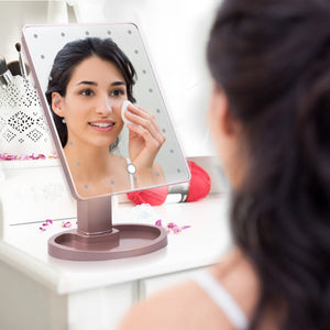 22 LED Lights Touch Screen Rechargeable Vanity Makeup Mirror With 10X Magnifying Mirrors
