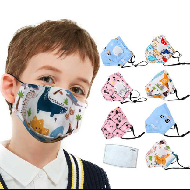 Children PM2.5 Kids Masks Respiratory Valve Cartoon Face Mask for Girls Boys Warm Dust Mask Fits 2-10 Years Old Kids