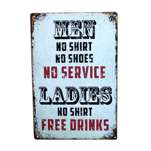 Ladies No Shirt Free Drinks 30x20cm Vintage Metal Tin Sign Funny Art Tin Plate Man Cave Bar Cafe Wall Decoration Plaque A952