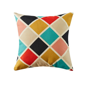 Colourful Cushion Cover Geometric Decorative Throw Pillows Case Linen Cotton Creative Home Decoration for Sofa Car Seat