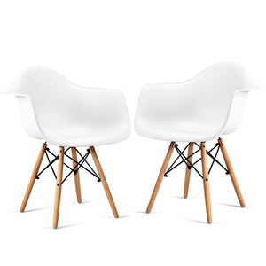 Set of 2 Mid-Century Dining Arm Chairs with Wood Legs Chairs Dining Room Modern Design