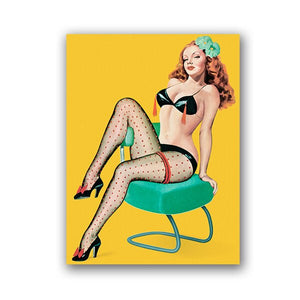Pin Up Girls Vintage Popart Posters and Prints Sexy Women Portrait Wall Art Canvas Painting Pictures Bar Pub Man Cave Decor